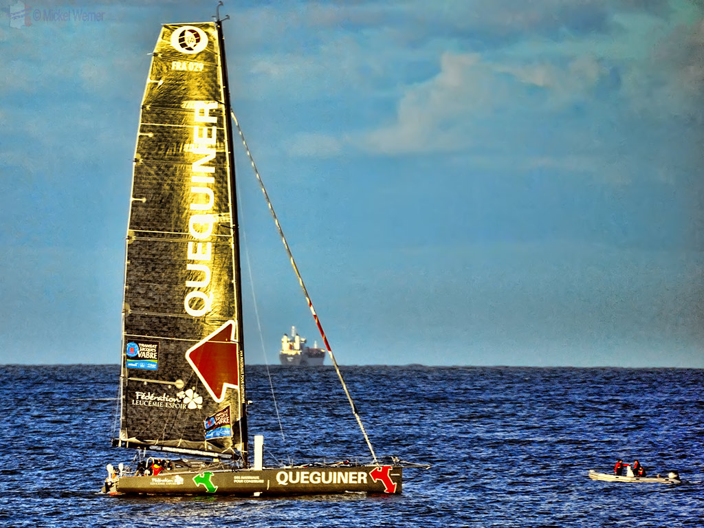 Opening the sails before the race start at the Transat Jacques Vabre