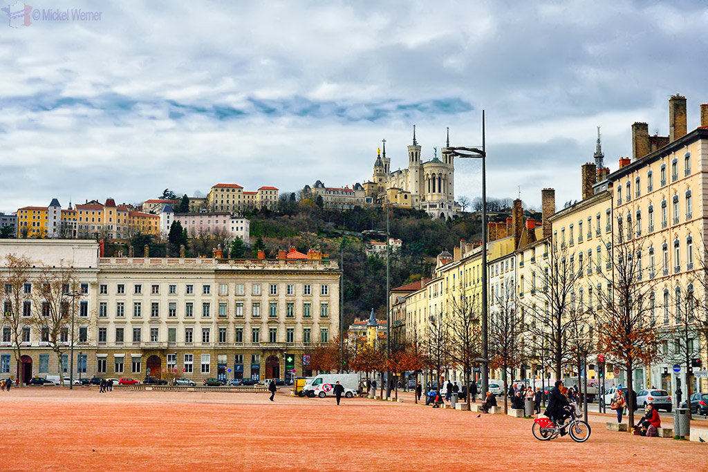 The adjacent hill and the basilica as see from La Place Bellecour square of Lyon