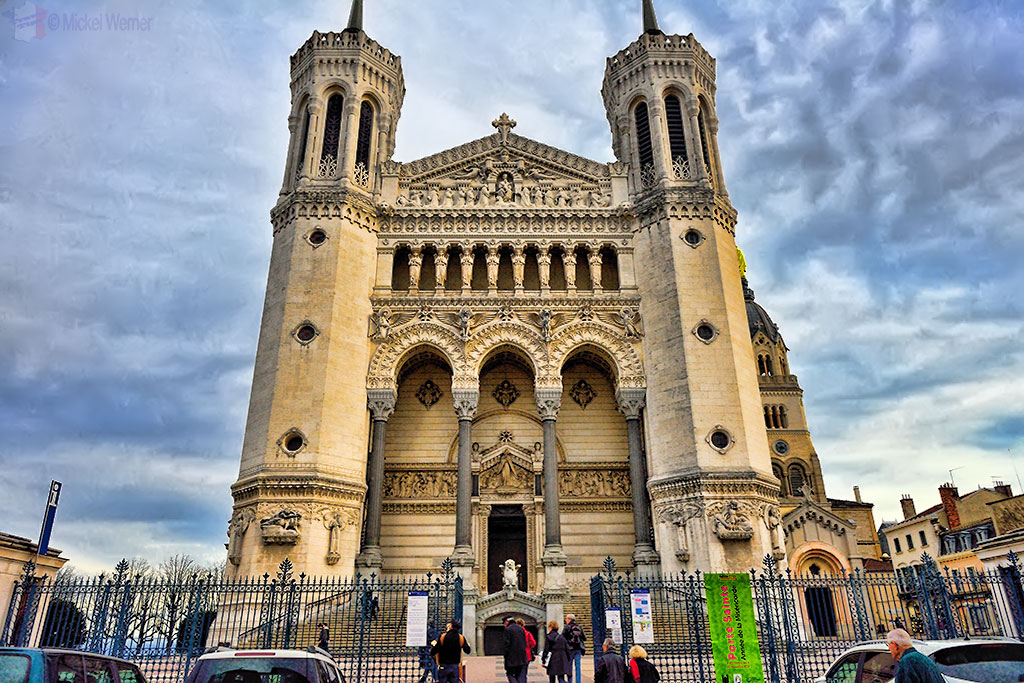 """The """"Basilique Notre Dame de Fourviere"""" on top of the hill in Lyon"""