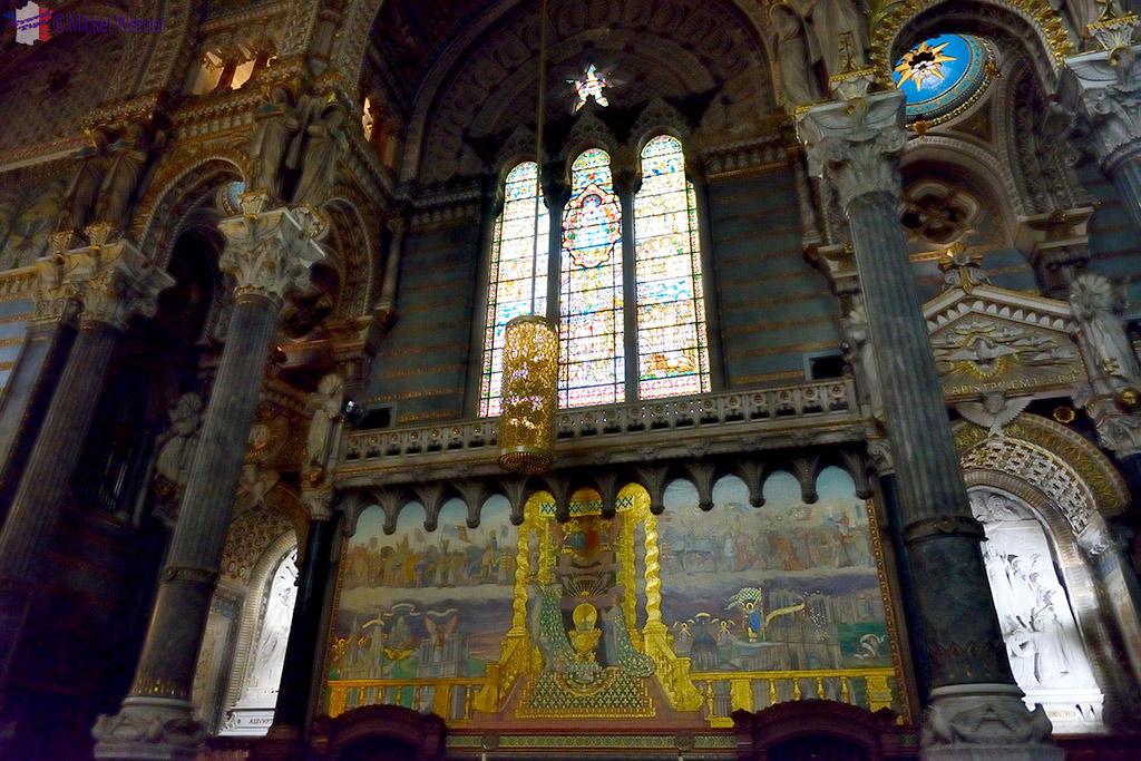Inside the Basilica of Notre Dame de Fourviere of Lyon