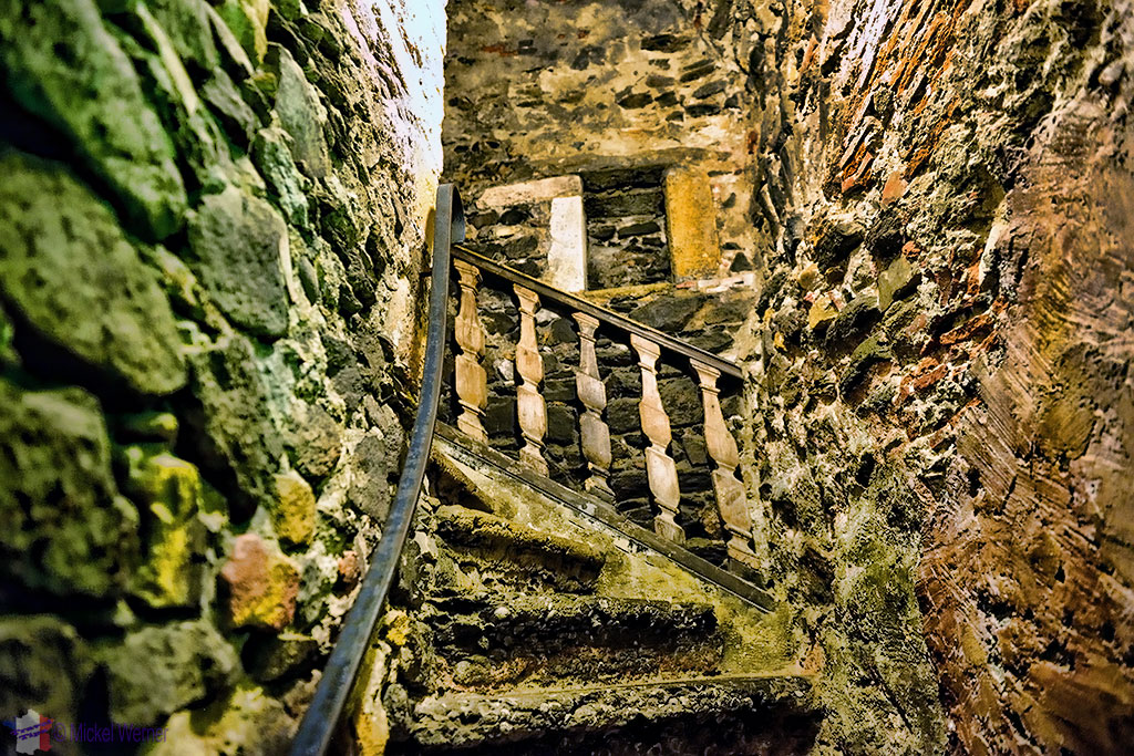 Small and narrow stairs at the Miniatures and Cinema museum of Lyon