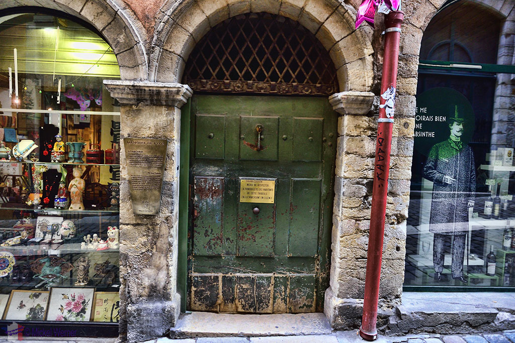 Traboule behind a closed door in old Lyon