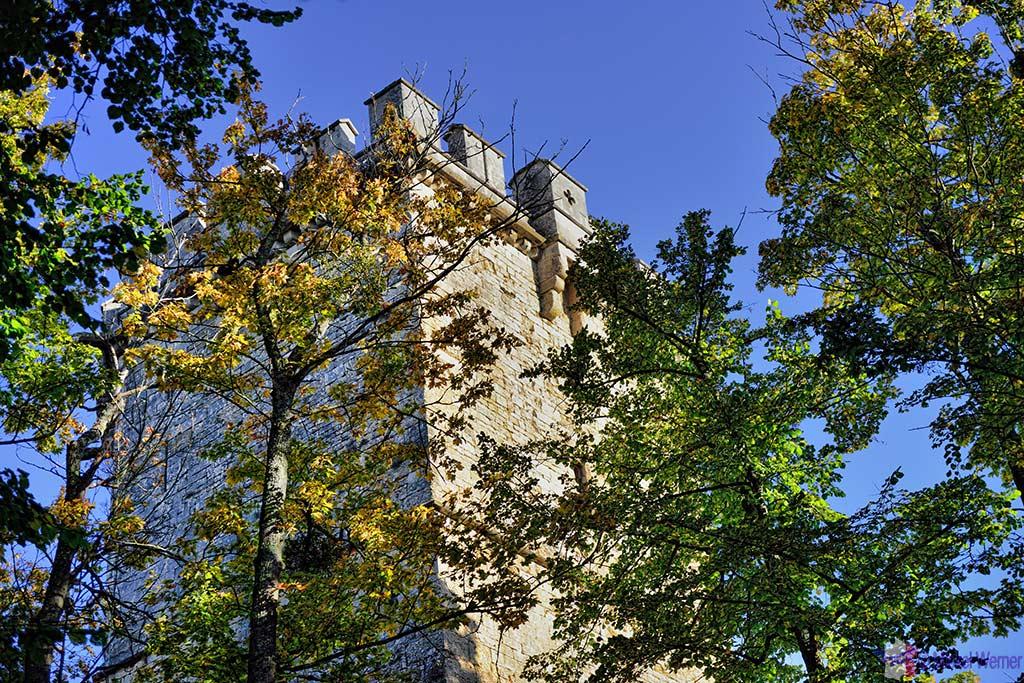 Montbard Castle tower inside the Buffon Park in Burgundy