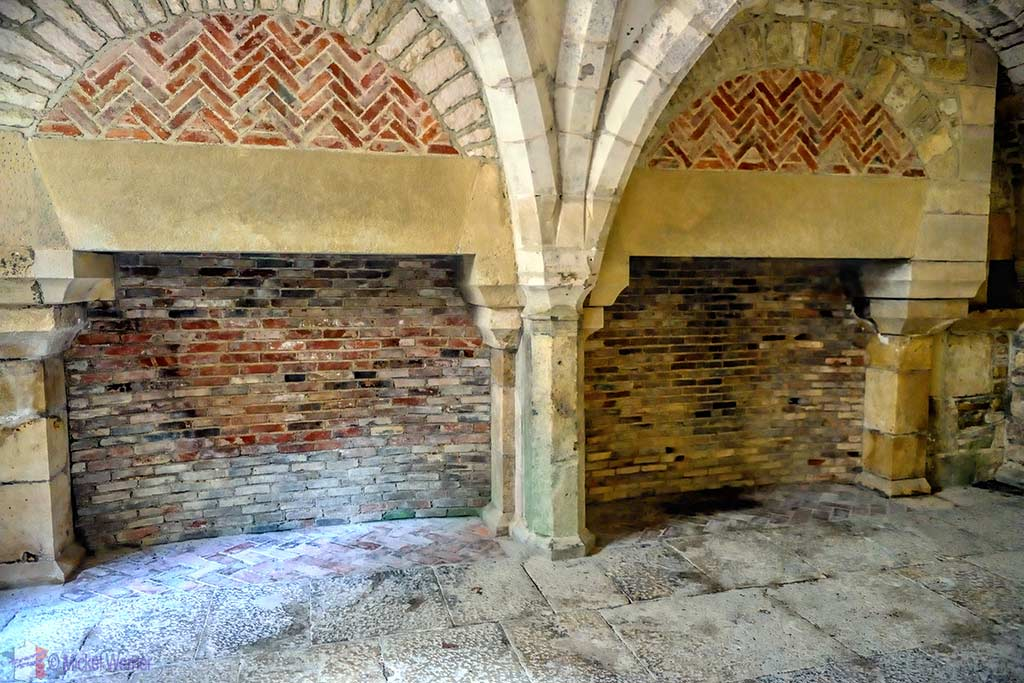Only fireplace inside the Fontenay Abbey in Montbard, Burgundy