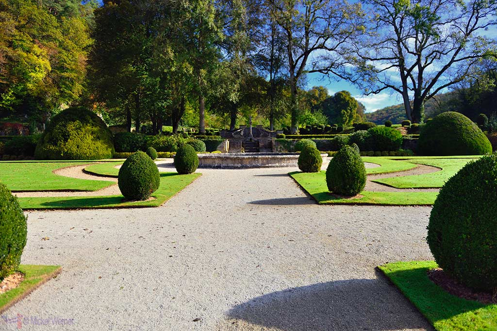Formal gardens of the Fontenay Abbey in Montbard, Burgundy