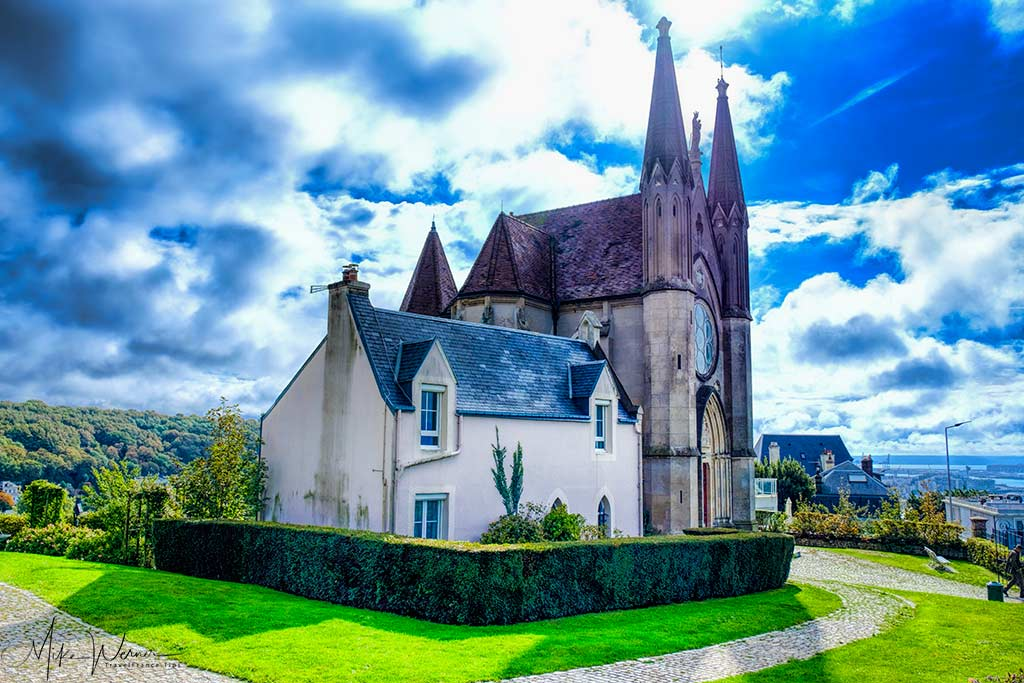 The Fishermen's church called Notre Dame des Flots in Sainte-Adresse, Normandy